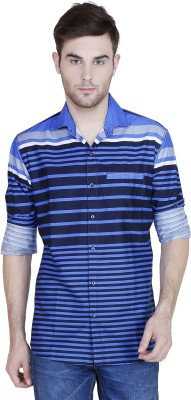 Human Steps Men's Striped Casual Blue Shirt