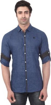 Vintage Soul Men's Solid Casual Linen Blue Shirt