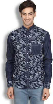 London Buck Men,s Self Design Casual Dark Blue Shirt