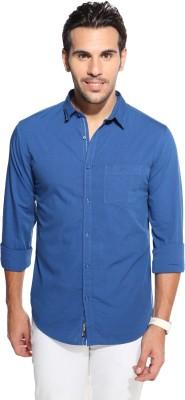 Marc N, Park Men's Solid Casual Blue Shirt