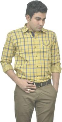 Benzoni Men's Checkered Casual Yellow, Dark Blue Shirt
