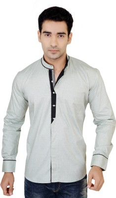 X-Secret Men's Self Design Casual Light Green Shirt