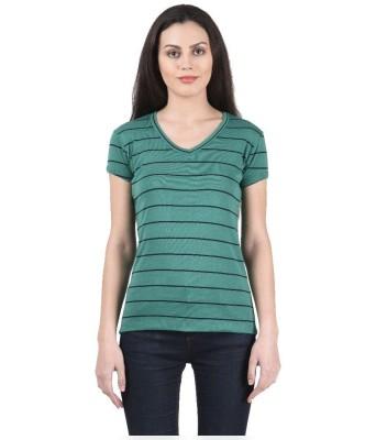 Beautic Women's Striped Party Green Shirt