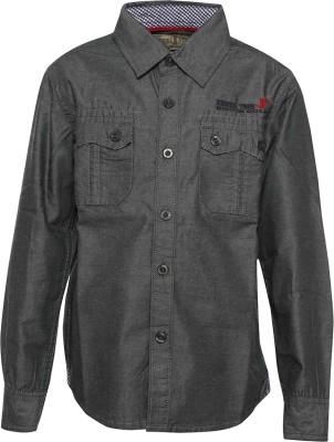 Joshua Tree Boy's Solid Casual Black Shirt