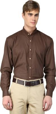 hutz Men's Solid Formal Brown Shirt