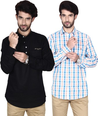 Brecken Paul Men's Checkered Casual Blue, Beige, Black Shirt