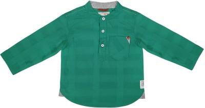 Wow Mom Baby Boy's Checkered Casual Green Shirt