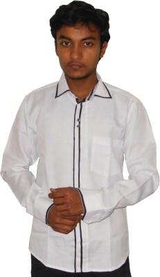Silvercuffs Men's Self Design Casual Linen White Shirt