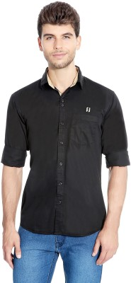 Flyjohn Men's Solid Casual Black Shirt