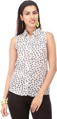 Life by Shoppers Stop Women's Printed Casual Blue Shirt