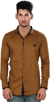 Fisheye Men's Solid Casual Brown Shirt