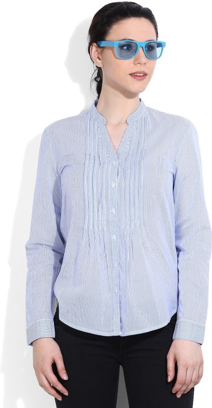 United Colors of Benetton Women's Striped Casual White, Blue Shirt