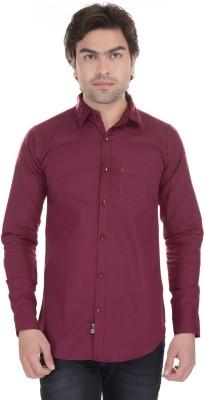 Lee Mark Men's Solid Casual Maroon Shirt