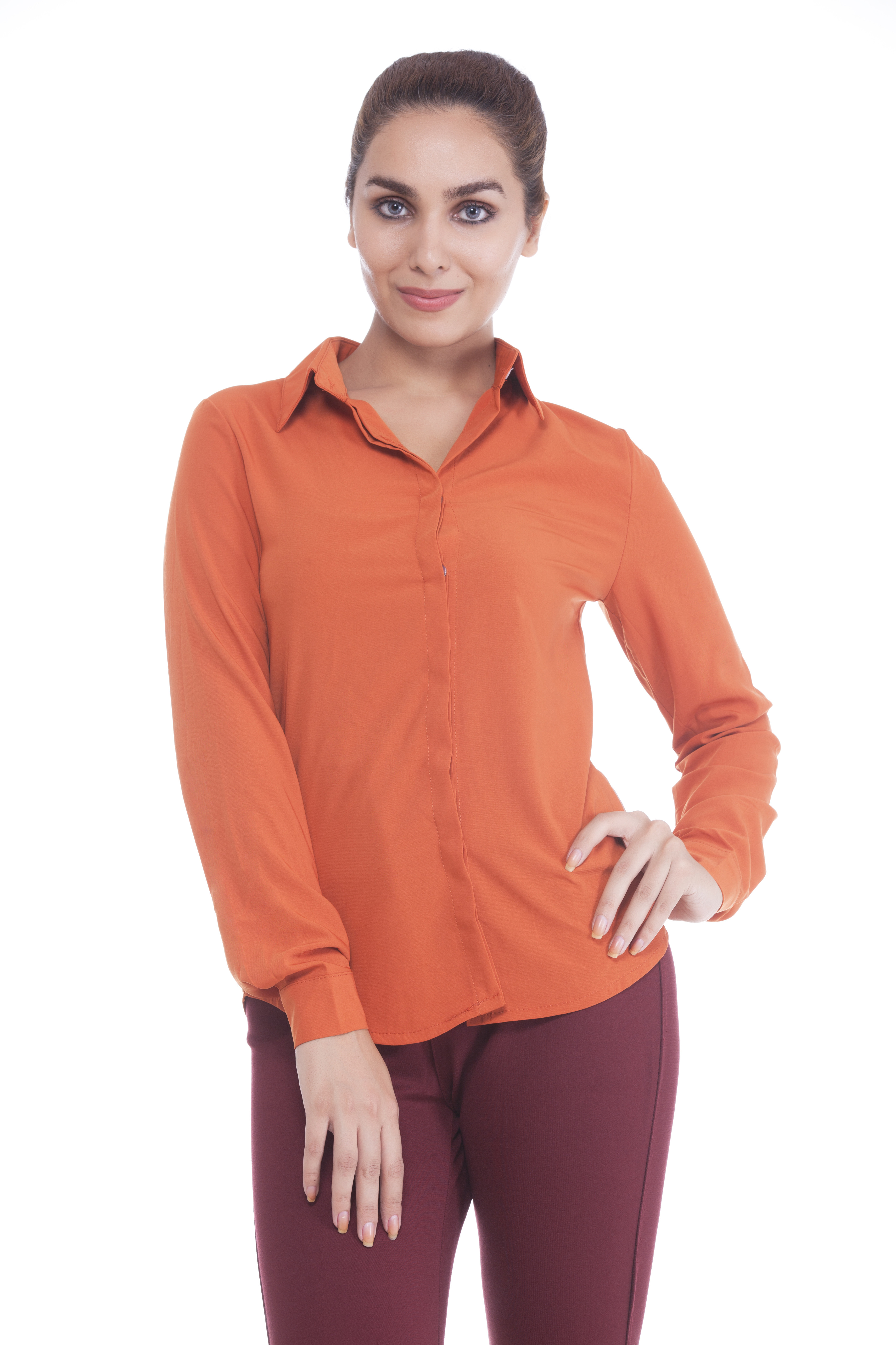 Revoure Women's Solid Formal Orange Shirt