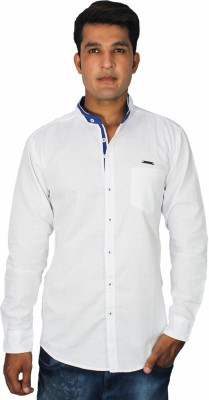 China Collection Men's Self Design Casual Linen White Shirt