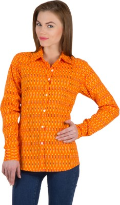 Famous by Payal Kapoor Women's Printed Casual Orange Shirt