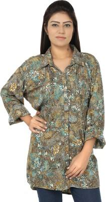 Chic Fashion Women's Floral Print Formal Green, Blue Shirt
