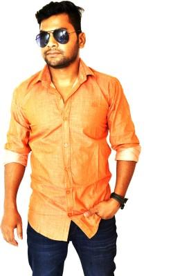 Heart Bit Men's Solid Casual Orange Shirt