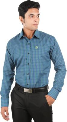 Relish Men's Checkered Formal Green, Dark Blue Shirt