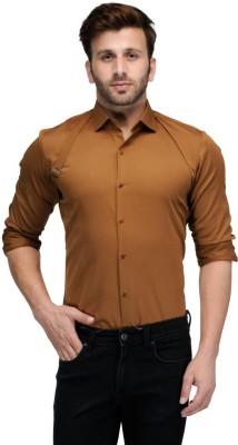 Edjoe Men's Solid Casual Brown Shirt