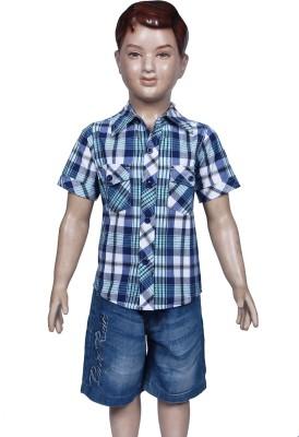 Chutti Pluss Boy's Checkered Casual Blue Shirt