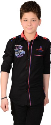 Anry Little Boy's Solid Casual Black Shirt