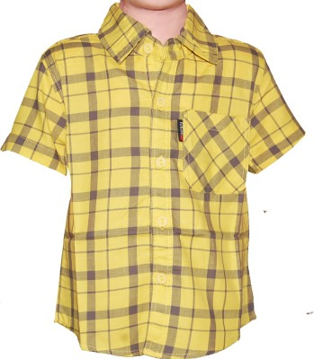 Habooz Boy's Checkered Casual Yellow Shirt