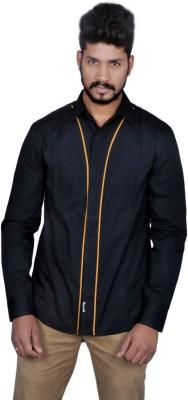 Suchos Men's Solid Casual Black, Yellow Shirt