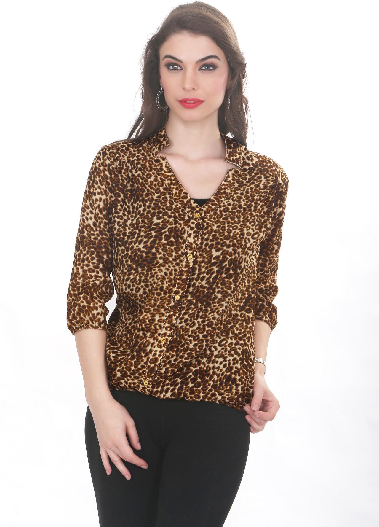 Ten on Ten Womens Animal Print Casual Brown Shirt