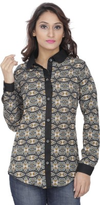 Alfa Fashion Women's Geometric Print Casual Black Shirt