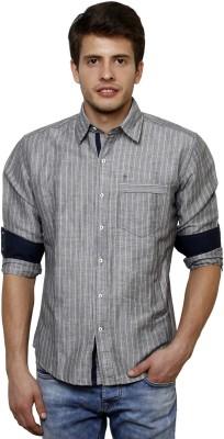 True Tittos Men's Striped Casual Grey, White Shirt