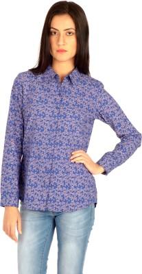 MIST ISLAND Women's Floral Print Casual Blue Shirt