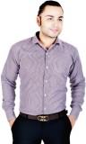 Spaky Men's Checkered Formal Purple Shir...
