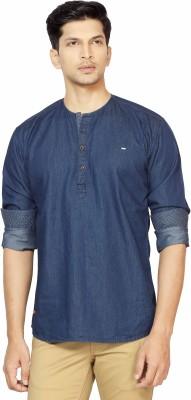 La Seven Men,s Solid Casual Denim Blue Shirt