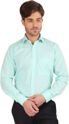 J Hampstead Men's Checkered Formal Green Shirt