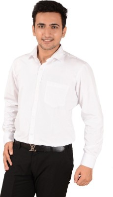 Rank Men's Solid Casual White Shirt
