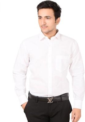 Bluebird Men's Self Design Festive White Shirt