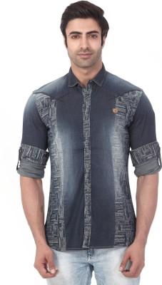 Vintage Soul Men's Printed Casual Denim Blue Shirt