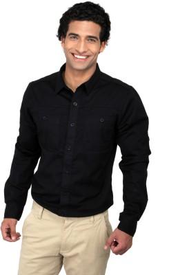 CAT Men's Solid Casual Reversible Black Shirt