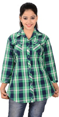 Jazzy Ben Women,s Checkered Casual Blue, Green Shirt