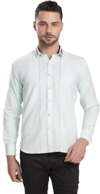 Ishin Designer Studio Men's Self Design Casual Light Blue Shirt