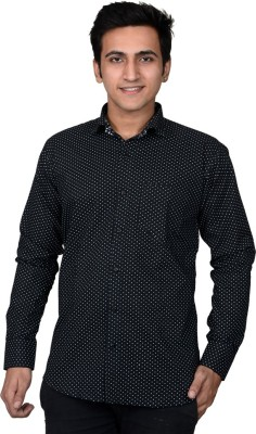 Mensfield Men's Printed Formal Black Shirt