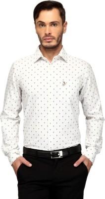 FRANK JEFFERSON Men's Printed Casual White Shirt