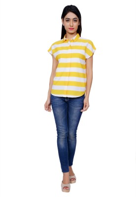 Juniper Women's Striped Casual White, Yellow Shirt