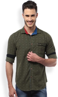 Mike and Smith Men,s Printed Casual Green Shirt