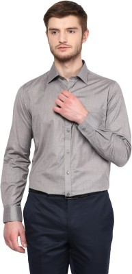 London Bridge Men's Solid Formal Black Shirt