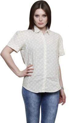 Vastrasutra Women's Polka Print Formal Beige Shirt