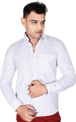 Fabrobe Men's Self Design Casual Red, White Shirt