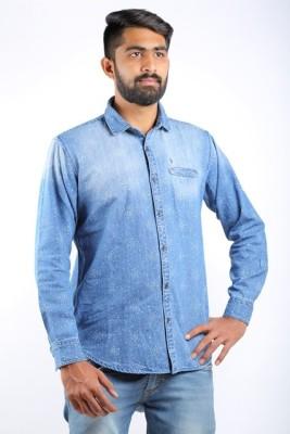 Cortos Men's Printed Casual Denim Blue Shirt