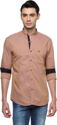 British Club Men's Solid Casual Beige Shirt